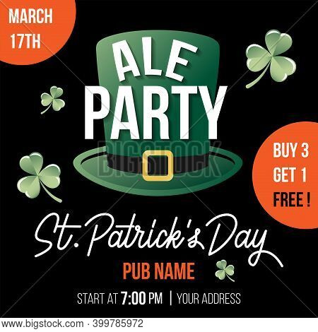 St. Patricks Day Flyer With Leprechaun's Hat, Clovers, Promo Text And Hand Drawn Typography. Vector