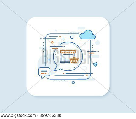 Marketplace Line Icon. Abstract Square Vector Button. Shopping Store Sign. Customer Cart Symbol. Mar