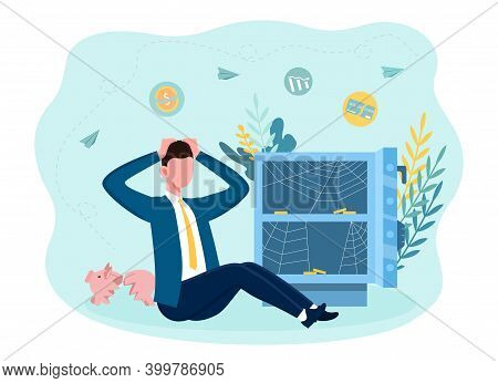 The Poor Man Sitting Near An Open Empty Safe With Only Spider Web Inside. Concept Of Bankruptcy And