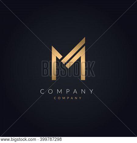 M Letter Luxurious Logo Concept. Creative Minimal Golden M Alphabet Design Template. Logotype Graphi