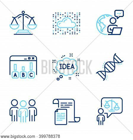 Education Icons Set. Included Icon As Survey Results, Lawyer, Justice Scales Signs. Group, Documents