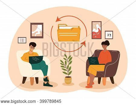Male And Female Characters Sitting In Cozy Room Sharing Files. Concept Of Sharing Encrypted Files, D