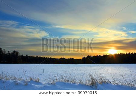 Winter Sunset In Finland