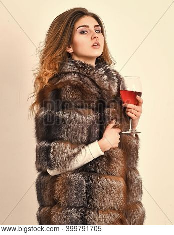 Lady Fashion Model Curly Hairstyle Enjoy Elite Wine. Wine Culture Concept. Reasons Drink Red Wine In
