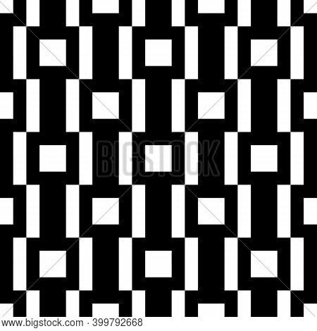Seamless Pattern. Tiles, Strokes Backdrop. Checks, Figures Ornament. Squares, Rectangles Wallpaper.