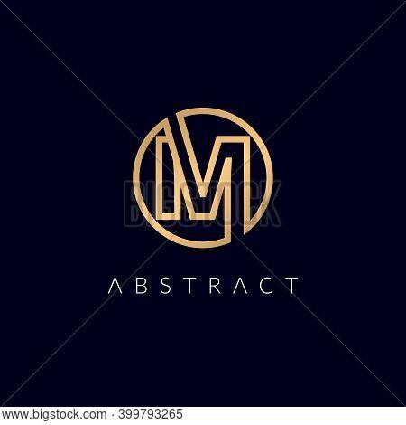 Initial Letter M Circle Logo Or Mo, Om Icon Golden Color Design On Black Background