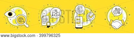 Internet Search, Medical Phone And Restructuring Line Icons Set. Licence, Cell Phone And Deal Vector