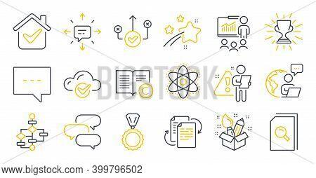 Set Of Education Icons, Such As Medal, Cloud Computing, Sms Symbols. Block Diagram, Presentation, Bu