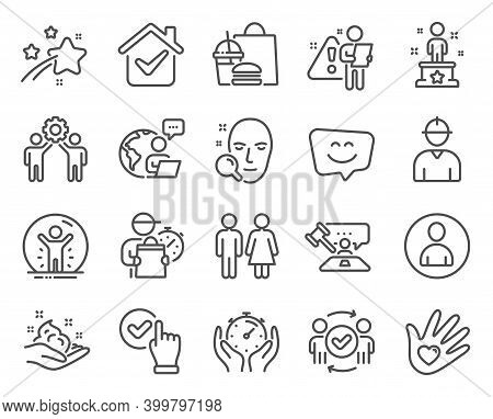 People Icons Set. Included Icon As Recovered Person, Smile Face, Approved Teamwork Signs. Timer, Soc