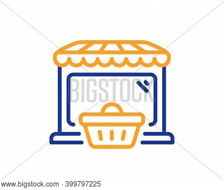 Online Market Line Icon. Shopping Cart Sign. Retail Marketplace Symbol. Quality Design Element. Line