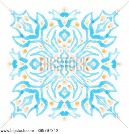 Watercolor Painting Ornamental Square Motif. Blue Pastel Decorative Design Element, Isolated Texture
