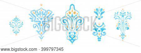 Watercolor Painting Ornamental Motif Set. Blue Pastel Decorative Design Elements, Isolated Texture A