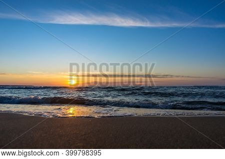 The Sun Sets Over The Horizon On The Sea, Sunrise On The Sea, Sunset On The Sea Coast