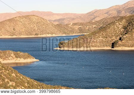 Barren Mountains With Secluded Sandy Beach Coves Taken At Silverwood Lake, Ca In The Arid Southern C