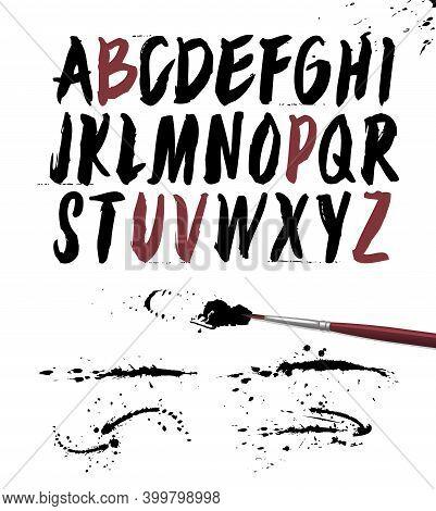 Hand Drawn Brush Font. Vector Grunge Alphabet. Hand Drawn Calligraphic Narrow Alphabet.