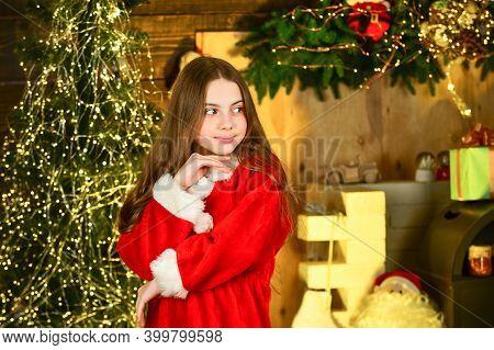 This Winter Night Be Bright. Santa Helper Elf At Christmas Tree. Christmas Tree With Lights. Nice An