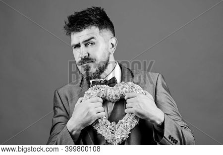 Pain In Heart. Businessman In Bow Tie Has Heart Problems. Love. Wedding Day. Stylish Esthete With De