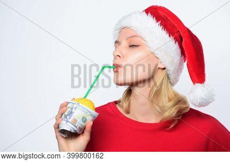 Symbol Of Wealth And Richness. Christmas Lemonade Punch. Girl Santa Hat Drink Juice Lemon Wrapped In