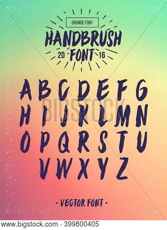 Hand Drawn Brush Font. Vector Grunge Alphabet. Hand Drawn Calligraphic Narrow Alphabet. Vector Type.