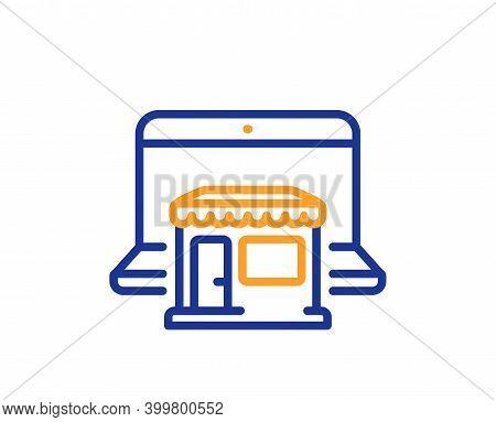Marketplace Line Icon. Online Shop Sign. Retail Store Symbol. Quality Design Element. Line Style Mar