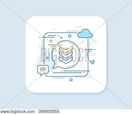 Shoulder Strap Line Icon. Abstract Square Vector Button. Army Reward Sign. Best Rank Symbol. Shoulde