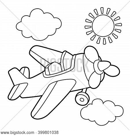 Propeller Plane Coloring Page. Provides Hours Of Coloring Fun For Children. To Color This Page Is Ve