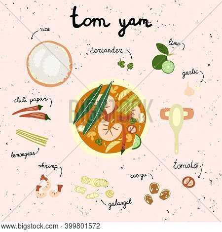 Tom Yum Asian Hot Soup. Thailand Food.