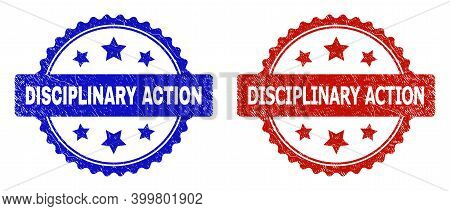 Rosette Disciplinary Action Seal Stamps. Flat Vector Scratched Seal Stamps With Disciplinary Action