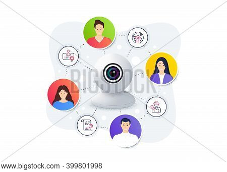Set Of People Icons, Such As Global Business, Certificate, Repairman Symbols. Web Camera Remote Stre