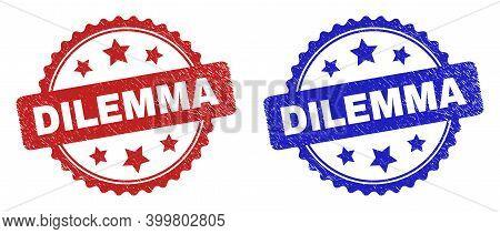 Rosette Dilemma Watermarks. Flat Vector Textured Watermarks With Dilemma Message Inside Rosette With