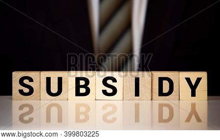 Subsidy The Word On Wooden Cubes, Cubes Stand On A Reflective Surface, In The Background Is A Busine