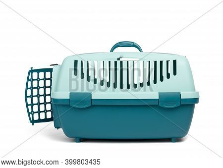Large Plastic Carrier Cage For Cats And Dogs Isolated On White Background, Side View