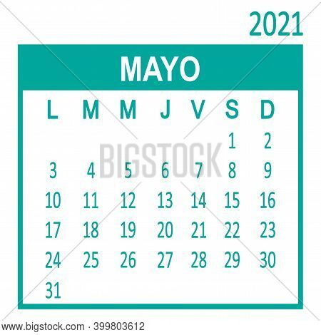 Mayo May. Fifth page of set. Calendar 2020, template. Week starts from Lunes Monday. Vector illustration