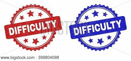 Rosette Difficulty Seals. Flat Vector Scratched Seals With Difficulty Phrase Inside Rosette With Sta
