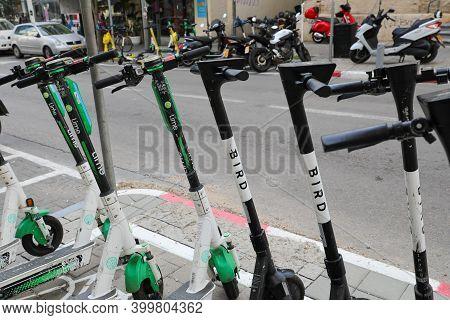Tel Aviv, Israel: November 23, 2020: Electric Scooter Brands Parking Spot In Tel Aviv Street.