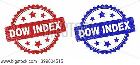 Rosette Dow Index Seals. Flat Vector Scratched Watermarks With Dow Index Phrase Inside Rosette Shape