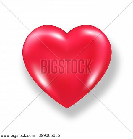 Red Shiny 3d Heart With Shadow Isolated On White Background. Valentines Day Glossy Balloon Heart. Re