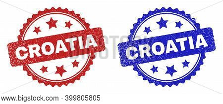 Rosette Croatia Stamps. Flat Vector Distress Watermarks With Croatia Phrase Inside Rosette With Star