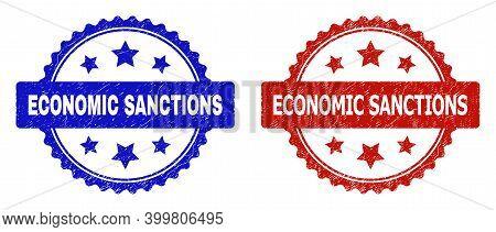 Rosette Economic Sanctions Stamps. Flat Vector Textured Stamps With Economic Sanctions Text Inside R