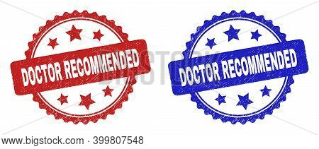 Rosette Doctor Recommended Watermarks. Flat Vector Grunge Watermarks With Doctor Recommended Caption