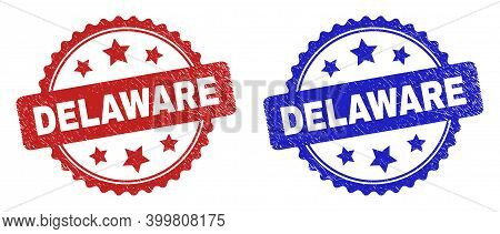 Rosette Delaware Seal Stamps. Flat Vector Textured Stamps With Delaware Message Inside Rosette Shape