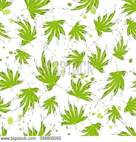 Seamless Pattern In Brush Style Cannabis Leaves. Cannabis Leaves, Hemp Or Marijuana Or Hashish Or Ma
