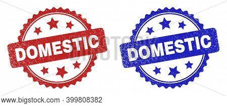 Rosette Domestic Watermarks. Flat Vector Scratched Watermarks With Domestic Text Inside Rosette With