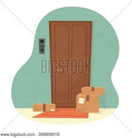 Parcels At The Door Of The Apartment. Delivery Of Parcels To Your Door. Vector Illustration In A Fla