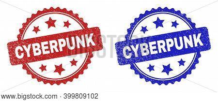 Rosette Cyberpunk Watermarks. Flat Vector Scratched Watermarks With Cyberpunk Phrase Inside Rosette