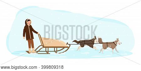 Eskimo Man Riding In A Sledge Pulled By Dogs. Northern Indigenous In Traditional Folk Costume. Flat