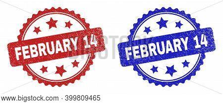 Rosette February 14 Watermarks. Flat Vector Grunge Watermarks With February 14 Text Inside Rosette W