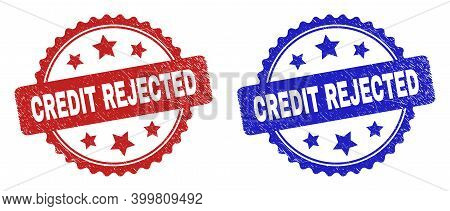 Rosette Credit Rejected Watermarks. Flat Vector Textured Stamps With Credit Rejected Message Inside