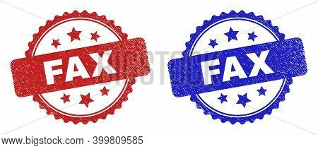 Rosette Fax Seal Stamps. Flat Vector Scratched Seal Stamps With Fax Message Inside Rosette Shape Wit