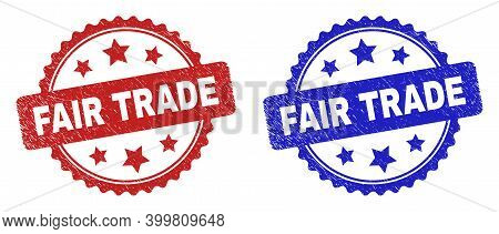 Rosette Fair Trade Stamps. Flat Vector Scratched Stamps With Fair Trade Message Inside Rosette Shape